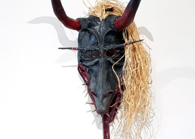 Xavier (Jason Glasrud, Big River, SK), 2016: Paper, wood, cloth, leather, grass; papier and cloth mâché. $500. 2nd Place Winner – Headpiece.