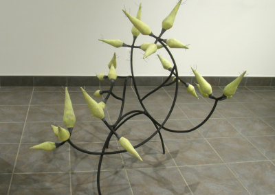 Green Prickle: Stoneware, underglazes, steel, wire, cord; hand built, welded, fired to cone 6 Ox, assembled. $1,500