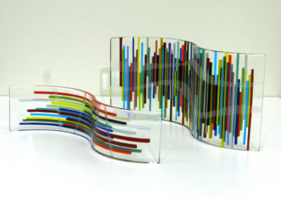 Scribbles (Sabine Hinz), 2016:  Glass; fused, slumped, sandblasted. small $80, large $150.