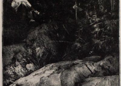 "Gordon Holtslander ""On the Rocks"" 1989. Photo etch print. Not For Sale."