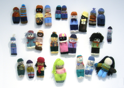 Izzy Dolls (Judy Haraldson, Kristina Komendant, Karen Potter, Julie Haubrich, Claire Haubrich, Kathy Clay, Susan Pattison, Joah Bargen), 2014: Textiles; knitting, crocheting, weaving. To be donated to a local charity