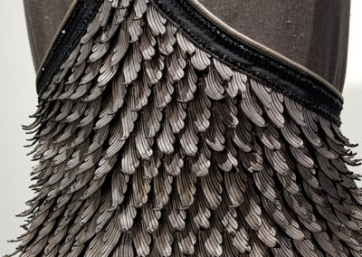 Faceted Wings (Nadine Jaggi, New Zealand), 2017: Leather, fabric, Swarovski crystals, sterling silver; designed, embellished, wet molded, laser cut, hand dyed, leather tooling, hand and machine sewing. Private Collection. Feature Piece.