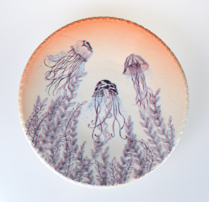 Jenn Demke-Lange. Jellyfish. 2015. Porcelain, glazes; Hand-built, glaze, illustrated anaglyph decals. Sold.