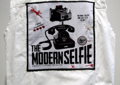 The Modern Selfie (Karli Jessup), 2017: Ink, embroidery floss; screen printing, embroidery. $60