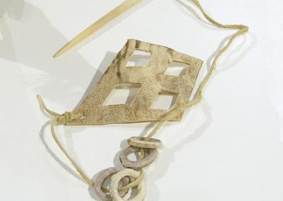 Bone Toss Game (Kathleen & Jeffrey Coleclough), 2014: Rawhide, antler, bone, brain tanned leather; hand cut hide and antler, tanned deerhide using traditional methods. $48