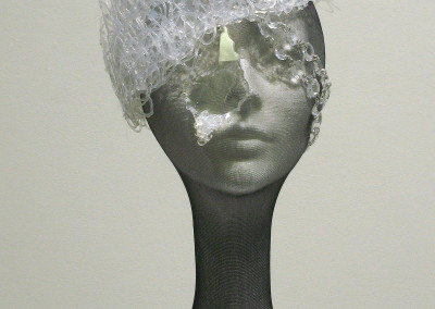 Light, Lace & Crystal (Katie Kimber): Hot glue, aluminum, beads, chandelier crystals. $220.