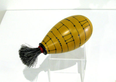 Bound Riff Rattle (Kimberly Winkle, Smithville, TN, USA), 2014: Poplar wood, paint, horse hair; lathe turned, painted. $350.