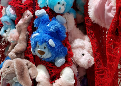 Re-Dressed Teddies (Laura Kinzel, Saskatoon, SK), 2017: Recycled stuffed animals, recycled velour robe, recycled poly stuffing, embroidery thread, polyester fabric; sewing, embroidery, appliqué, stuffing. NFS.