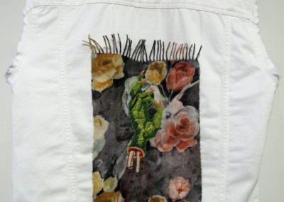 Tsk, Tsk, Tsk…What did you do to yourself? (Jaye Kovach), 2016: Cotton embroidery floss, found fabrics; embroidery. $450