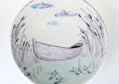Jenn Demke-Lange. Lake Boat. 2015. Porcelain, glazes; Hand-built, glaze, illustrated anaglyph decals. $95.