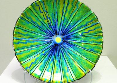 Bullseye (Arliss MacNeill), 2015:  Dichroic glass, frit; fused. $500.