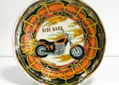 Mariko Paterson. Ride Hard. 2015. Clay, glaze, lusters, decals; Thrown, fired multiple times from △ six to △ 018. $600.