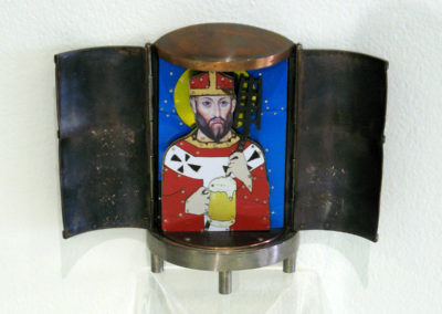 St. Arnold  - Patron Saint of Brewers (Marlene True, Edenton, NZ, USA), 2008: Copper, sterling silver, recycled tin cans; formed & soldered metals, rivets. Not for sale.