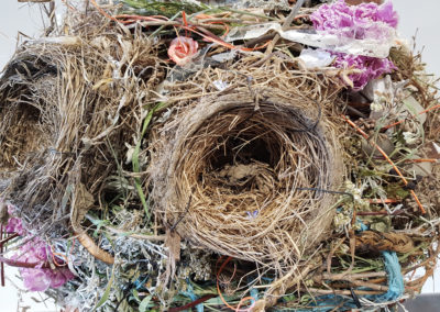 Nestled in the Trees (Shannon McLean, Big River, SK), 2017: chicken wire, feathers, dried berries, spruce wood, wild flowers, grasses, sages and birds' nests; weaving, sewing, drawing bark. $900. 1st Place Winner – Open.