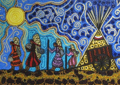 "Leah Marie Dorion ""Michif Women Packers"" 2011; Acrylic, Mica on canvas; NFS"