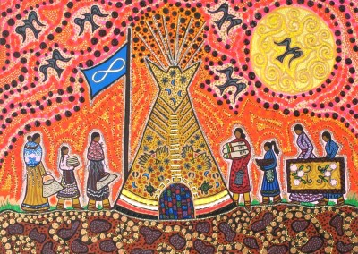 "Leah Marie Dorion ""Michif Women's Lodge"" 2009; Acrylic on canvas; NFS"