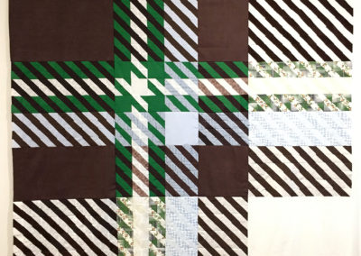 Series: Optics (plaid) (Shelley Miller), 2017: Fabric sourced from used clothing and household linens, patch of fabric from artist's mother's quilting scraps; patchwork sewing. $4000