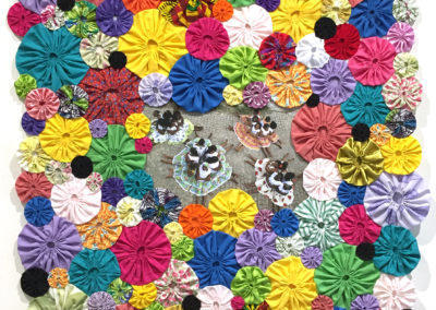 Series: People, Pattern, Place (Brazil: Samba) (Shelley Miller), 2017: Photograph, fabric; hand-sewn. Community collaborative photo shoot in Itaparica, Brazil, in 2015. $1800