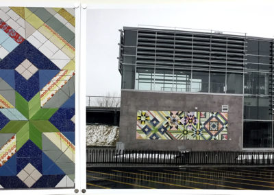 Tissu Urbain, 2014: Photographic documentation of mural (hand-built ceramic, hand-glazed, fabricated by Mosaika Art & Design); public art commission for the St. Michel- Montreal North commuter train station, Montreal, Quebec. $250 (set of two images)