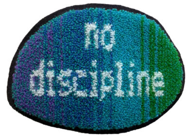 No Discipline, No Class (Megan Morman), 2016: Wool yarn on cotton/polyweaver's cloth backed with wool felt; punch needle embroidery. $400 pair.