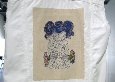 Making it Rain Since 1551 (After Paradin) (Caitlin Mullan), 2017: Embroidery floss, ink, canvas; Screen printing, embroidery. $175