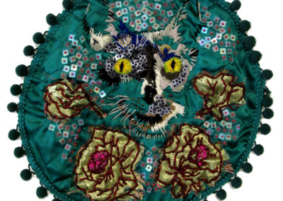 Individuation: Gaze of Bastet (Elizabeth Munro), 2015: Fibre, sequins, and beads; embroidery, beading. NFS