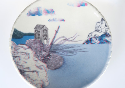 Jenn Demke-Lange. Ocean Dwelling. 2015. Porcelain, glazes; Hand-built, glaze, illustrated anaglyph decals. $95.
