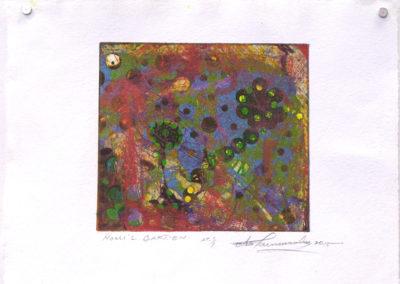 Nomi's Garden (Otis Tamasauskas, Gananoque, ON, Canada), 2015: Ink, paper; lithograph. $150.