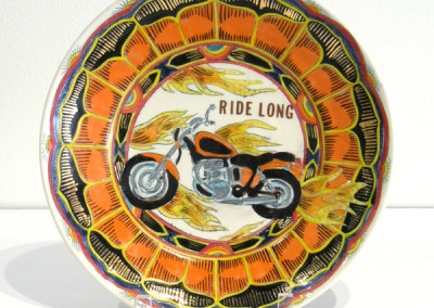 Mariko Paterson. Ride Long. 2015. Clay, glaze, lusters, decals; Thrown, fired multiple times from △ six to △ 018. $600.