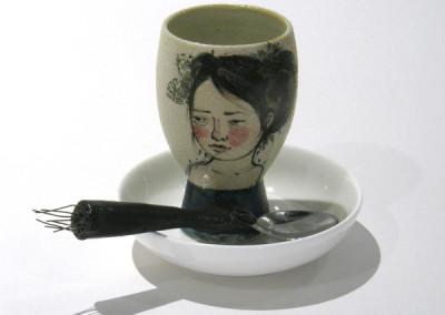Aura Carney. Egg Cup 9, 2015. Clay, underglazes; △ six, wheel-thrown & handbuilt, hand-painted. Sold.