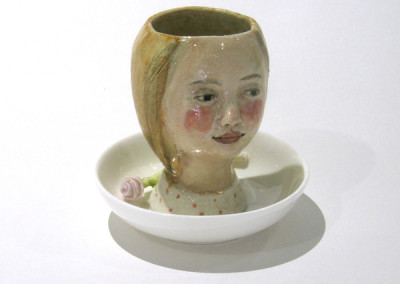 Aura Carney. Egg Cup 4, 2015. Clay, underglazes; △ six, wheel-thrown & handbuilt, hand-painted. Sold.