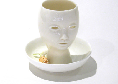 Aura Carney. Egg Cup 5, 2015. Clay, underglazes; △ six, wheel-thrown & handbuilt, hand-painted. $60.