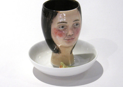 Aura Carney. Egg Cup 14, 2015. Clay, underglazes; △ six, wheel-thrown & handbuilt, hand-painted. Sold.