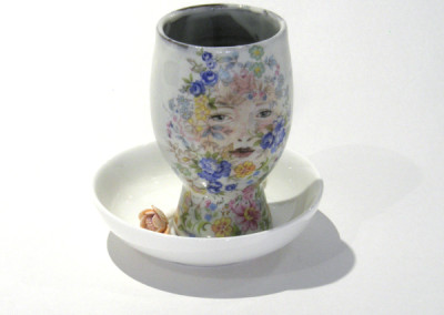 Aura Carney. Egg Cup 3, 2015. Clay, underglazes, decals; △ six, wheel-thrown & handbuilt, hand-painted. Sold.