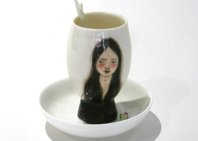 Aura Carney. Egg Cup 12, 2015 Clay, underglazes; △ six, wheel-thrown & handbuilt, hand-painted. Sold.
