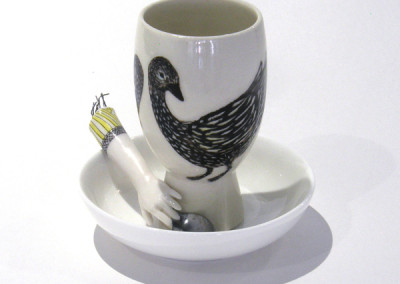Aura Carney. Egg Cup 7, 2015 Clay, underglazes; △ six, wheel-thrown & handbuilt, hand-painted. Sold.