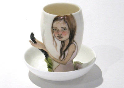 Aura Carney. Egg Cup 6, 2015. Clay, underglazes; △ six, wheel-thrown & handbuilt, hand-painted. Sold.