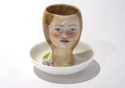 Aura Carney. Egg Cup 1, 2015. Clay, underglazes; △ six, wheel-thrown & handbuilt, hand-painted. Sold.