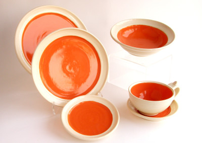 Orange Setting (Eli Fernandez), 2015: Stoneware, underglazes, glazes. $250