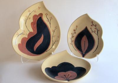Floral 1 (Elaine Friesen), 2015: Stoneware, underglaze and glazes. $42; Floral 2 (Elaine Friesen), 2015: Stoneware, underglaze and glazes. $38; Floral 3 (Elaine Friesen), 2015: Stoneware, underglaze, and glazes. $48.