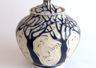 Entwined (Paula Cooley), 2015: Stoneware, glazes, slip. $225.