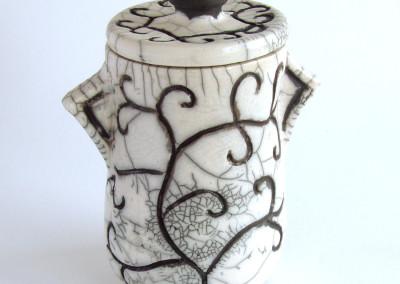 Raku Lidded Vessel (Gail Sherwin), 2013: Stoneware, raku glaze. $120. Not For Sale.