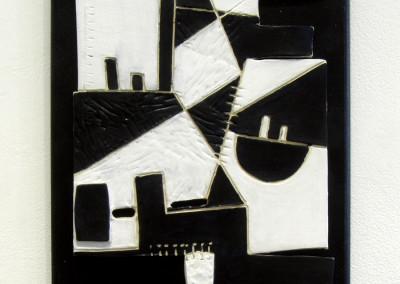 Black and White (Gail Sherwin), 2015: Stoneware, underglazes, glazes. $100.
