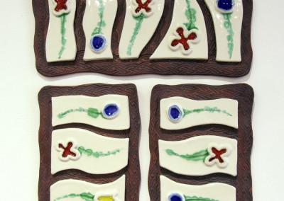 Flower Garden (Shirley Carriere), 2015: Stoneware, glazes, stained glass. $160.