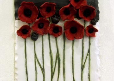 Poppies (Gail Sherwin), 2014: Stoneware, glazes. $100.
