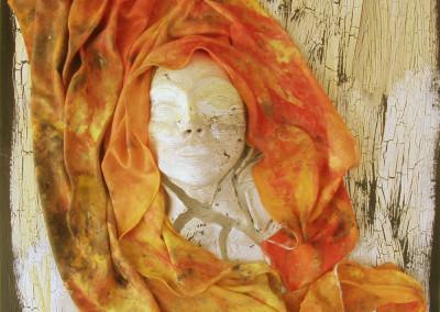 Woman Broken (Nancy Grummet), 2015: Paper clay, acrlyic paint, fabric, laquer. $1400.