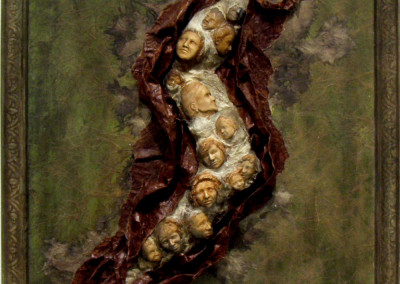 Generation Passing Through (Helen Cooke), 2003: Clay, handmade papers, acrylics, inks, papier mache. $500.