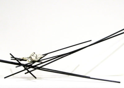 Cradol (Paula Cooley, Saskatoon, SK, Canada), 2016: Steel, porcelain, glaze; welded, handbuilt. Not for sale.