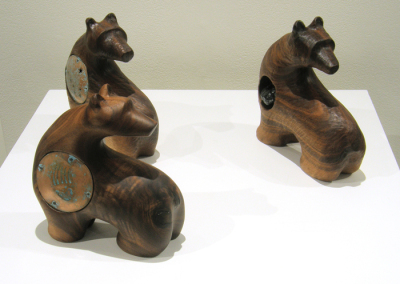 The Three Bears (Paul Lapointe), 2014: Walnut, copper, quartz; carved. NFS