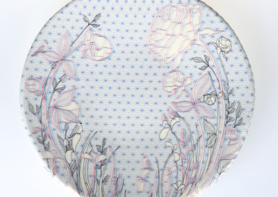 Jenn Demke-Lange. Peony. 2015. Porcelain, glazes; Hand-built, glaze, illustrated anaglyph decals. $95.